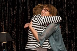 Women hugging - they found support for becoming an entrepreneur