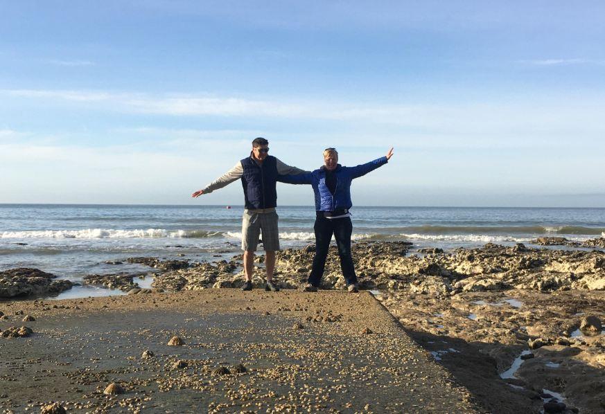 Nicky and husband on the beach