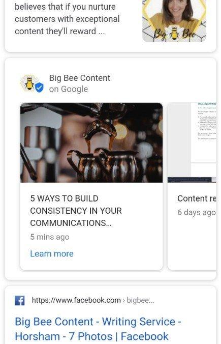 Screenshot of updates carousel on Google SERP shows Big Bee Content's blog items