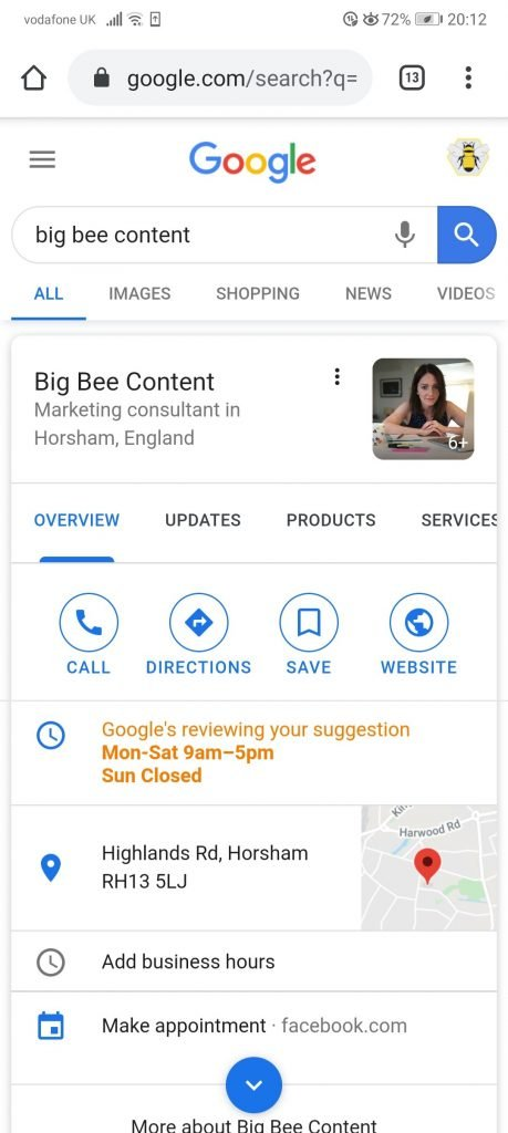 Screengrab of Big Bee Content's Google My Business Listing showing all of the information from contact details to products